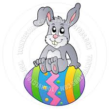 cartoon easter bunny sitting on easter egg by clairev toon