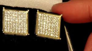 s mens earrings men s 925 silver gold square cz earrings mens earrings kingice