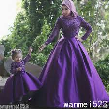 islamic wedding dresses modest purple muslim wedding dress arabic high neck with