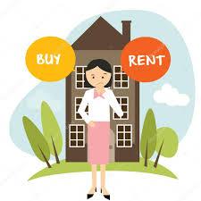 Mieten Haus Oder Mieten Haus Heim Wohnung Frau Entscheiden Vektor Illustration