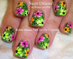 neon rainbow daisy nail art design on glitter for beginners with