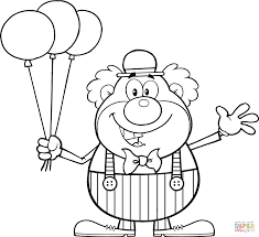 clown with balloons coloring page free printable coloring pages