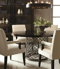 bernhardt hallam modern metal dining table with wood top 54