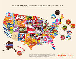 Buffalo State Map by America U0027s Favorite Halloween Candy State By State