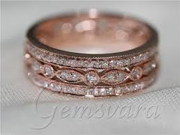 gold pave rings images 3 rings solid 14k rose gold pave diamond wedding bands engagement jpg