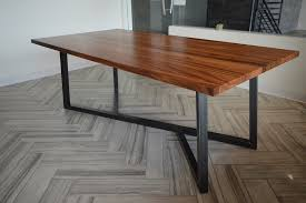 reclaimed wood table with metal legs extraordinary monkeypod dining table with metal base at wood and