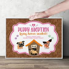 puppy party adoption sign puppy signs paw party birthday