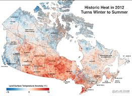 Eastern Canada Map by 2012 Heat Anomaly Canadian Environmental Health Atlas