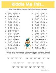 thanksgiving adding and subtracting integers math riddles by