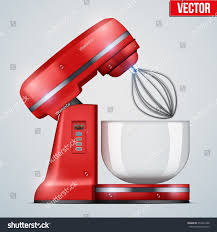 red stand mixer opened food blender stock vector 654421408