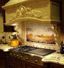 Kitchen Mural Backsplash Kitchen Great Brown Diagonal Tile Kitchen Backsplash With Red