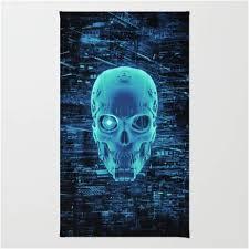 Game Room Rug Cool Electric Blue 3d Cyborg Hacker Skull Gaming Rug