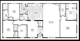 4 Bedroom 2 Bath House Plans 3 Bed 2 Bath Open Floor Plan