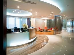 modern luxury office interior reception ideas with round ceiling