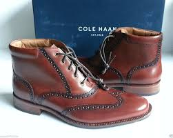 cole haan men size 8 5 leather brown boots oxford style wing tip