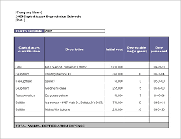 Fixed Asset Register Excel Template Depreciation Schedule Template 9 Free Word Excel Pdf Format