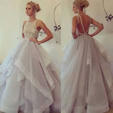 high neck prom dress with ruffles tulle prom dresses with low
