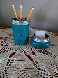 Diy Student Desk by Grotto Green Mason Jar Desk Set Pincil And Business Card Holder