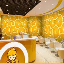 3d stereo custom cold fruit tea beverage shop cafe wallpaper
