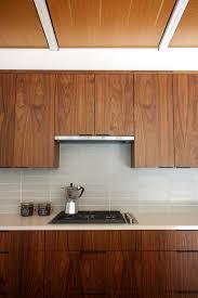 mid century modern walnut kitchen cabinets leslie murchie s midcentury ranch fireclay tile