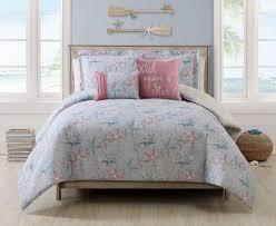 5 piece cabrillo beach gray ivory coral reversible comforter set
