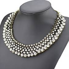 rhinestone collar necklace images Clear crystal collar rhinestone statement necklace by jpg