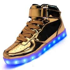 light up shoes gold high top led shoes 7 colors led luminous shoes gold silver high top usb light