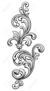 vintage baroque frame border monogram floral ornament