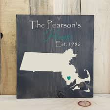 state shaped gifts massachusetts primitive state shaped family sign personalized