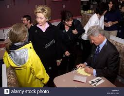 u s president bill clinton and his wife hillary greet citizens of