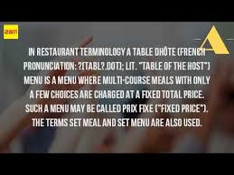 table d hote menu what is a table d hote menu youtube
