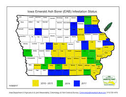 Iowa Map With Cities Iowatreepests Com Emerald Ash Borer Locations In Iowa And The