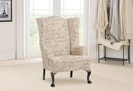 wingback chair slipcovers sure fit stretch pen pal by waverly wing chair slipcover