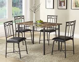 faux marble top u0026 black metal legs modern 5pc dinette set