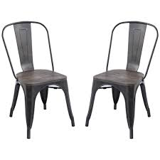 Outdoor Metal Dining Chairs Tolix Style Trattoria Side Chair Set Of 2 U2013 Poly Bark