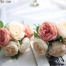 Vintage Rose Home Decor by Aliexpress Com Buy 1 Bouquet 5 Heads Vintage Artificial Peony