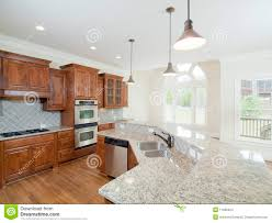 model luxury home interior kitchen arch windows stock images