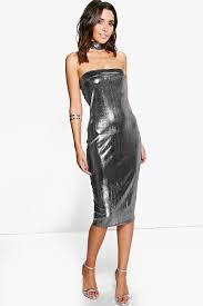 emmeline choker metallic bandeau midi dress boohoo