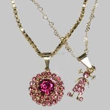 pendant necklace set images Raf rossi gold plated hot pink cz pendant necklace set 18kts of jpg