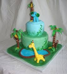 jungle or safari baby shower cake with edible monkey in banana