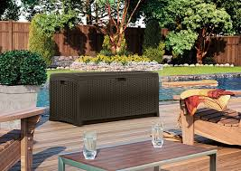 wicker patio storage amazon com suncast dbw7300 mocha wicker resin deck box 73