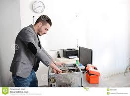 Laptop Repair Technician Young Man Repairing Computer Stock Photo Image 46260841