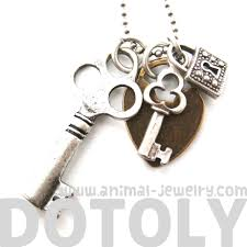 key pendant necklace silver images Antique skeleton locks and keys charm necklace in silver dotoly JPG