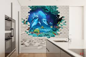 mural 3d brick wall aquarium with dolphins and fish