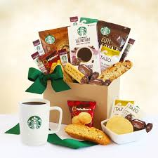 Snack Gift Baskets A Gift Of Starbucks Gift Basket At Gift Baskets Etc