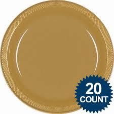 gold 10 plastic dinner plates 20 pack bargain themed tableware