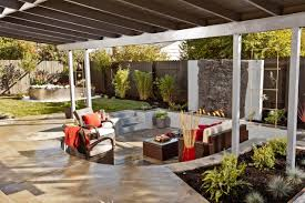 outdoor living room pergola steel stained fence natural crystal