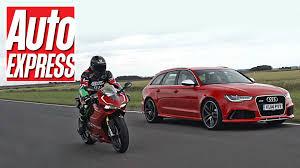 audi rs6 vs audi rs6 vs ducati 1199 panigale r car vs bike track battle