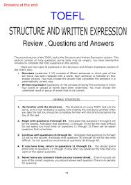 Toefl Integrated Writing Topics With Answers Toefl Structure And Written Expresssion With Answers