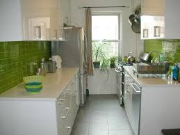Fresh Subway Tiles In Kitchen With Green Glass Color And Side By - Green glass backsplash tile